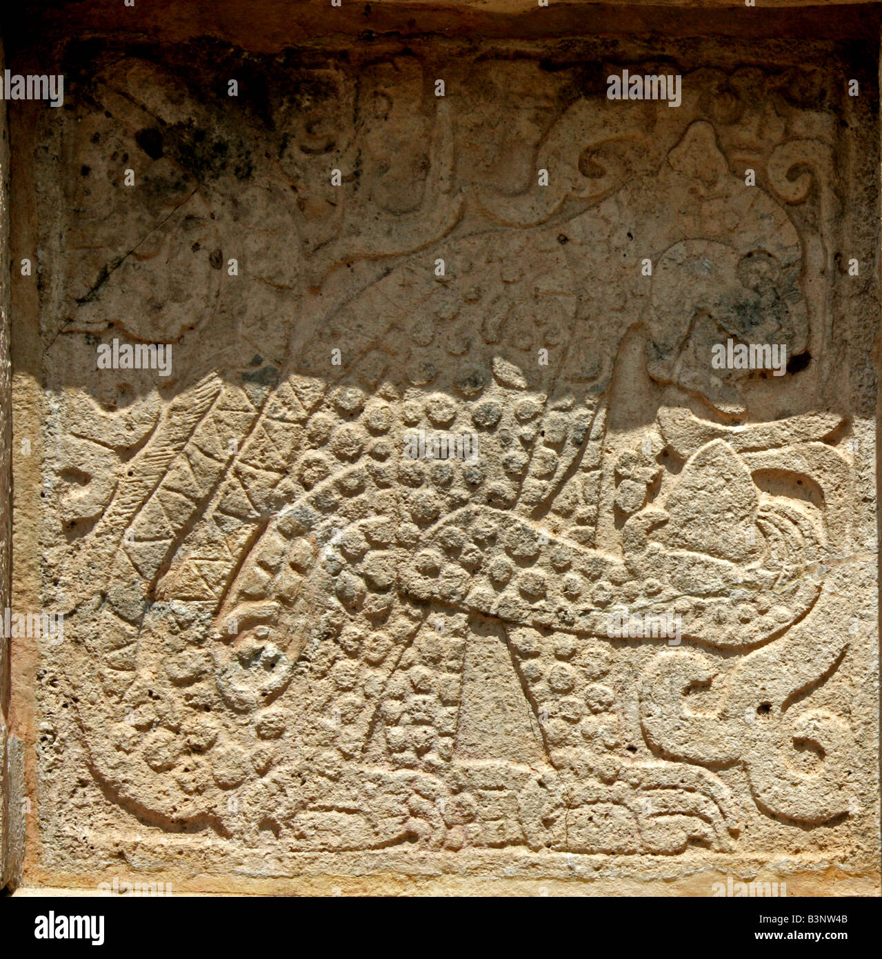 Detail of Jaguar Carving on the Platform of the Eagles and Jaguars, Chichen Itza, Yucatan Peninsular, Mexico Stock Photo