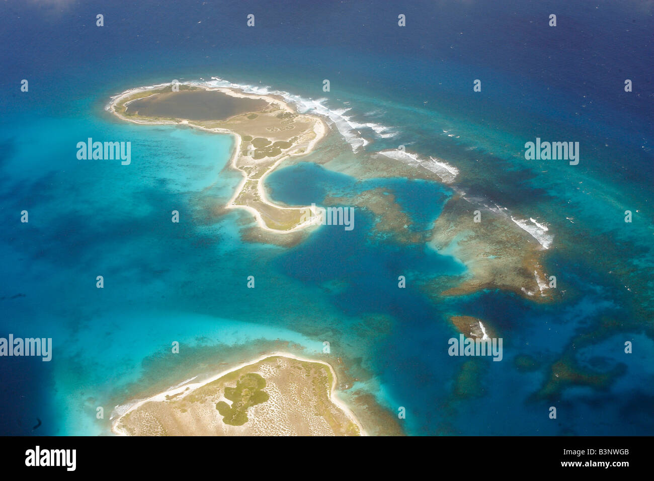 Aerial view of Los Roques - Stock Image