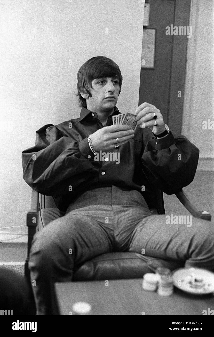 The Beatles August 1964 Ringo Starr Playing Cards At Bel Air Home In California During Tour Of USA