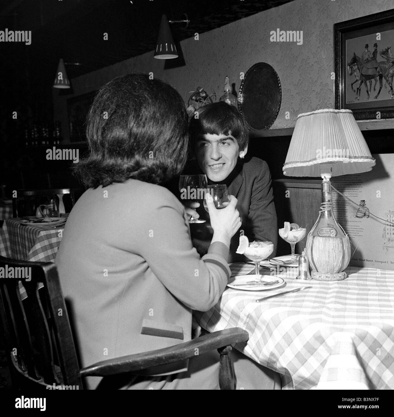 The Beatles February 1964 George Harrison With A Girl He Took Out To Dinner In Liverpool Club Last Night