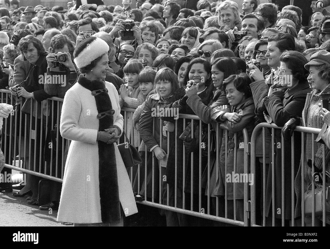 Queen Elizabeth II March 1973 Opens new London Bridge Here the Queen meets her subjects on a walkabout - Stock Image