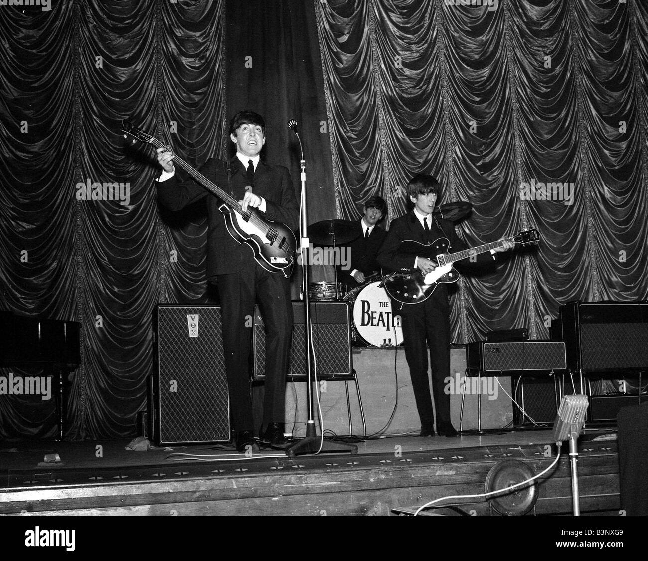 The Beatles On Stage During Their Gig In Plymouth November 1963