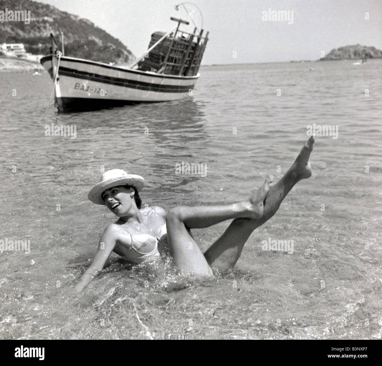 British People Abroard June 1965 British Holiday Makers in Spain 1960s - Stock Image