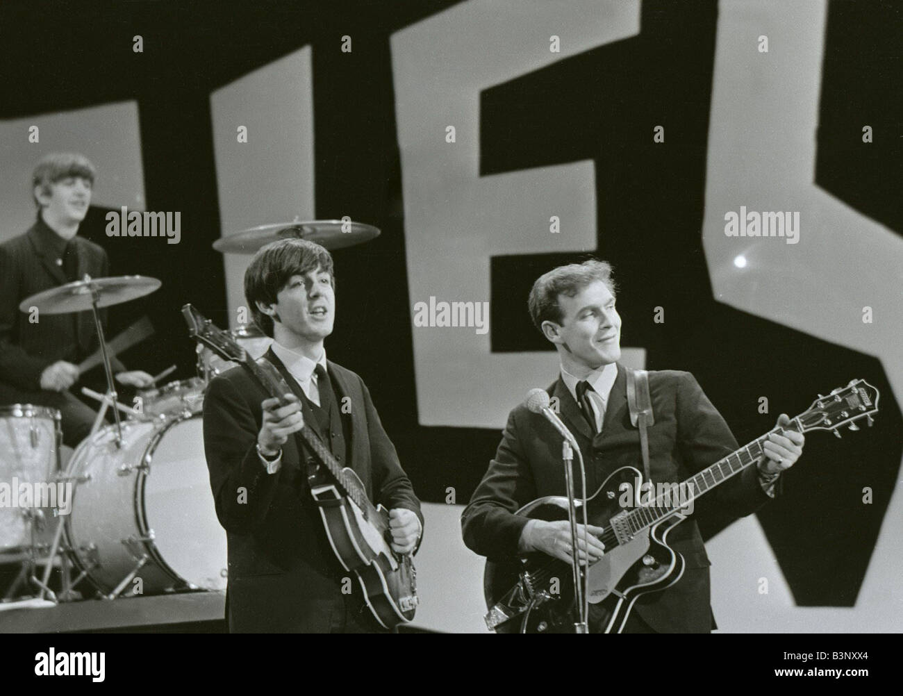The Beatles rehearse for their appearance on the Ed Sullivan TV Show in New York George Harrison was bed ridden - Stock Image