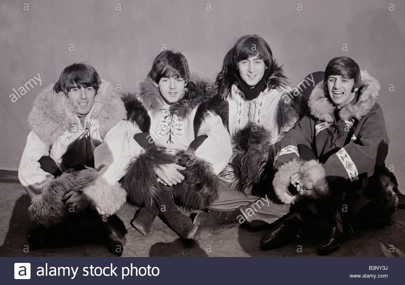 Beatles pose wearing eskimo outfits 23rd December 1964 L R George Harrison Paul McCartney John Lennon and Ringo - Stock Image