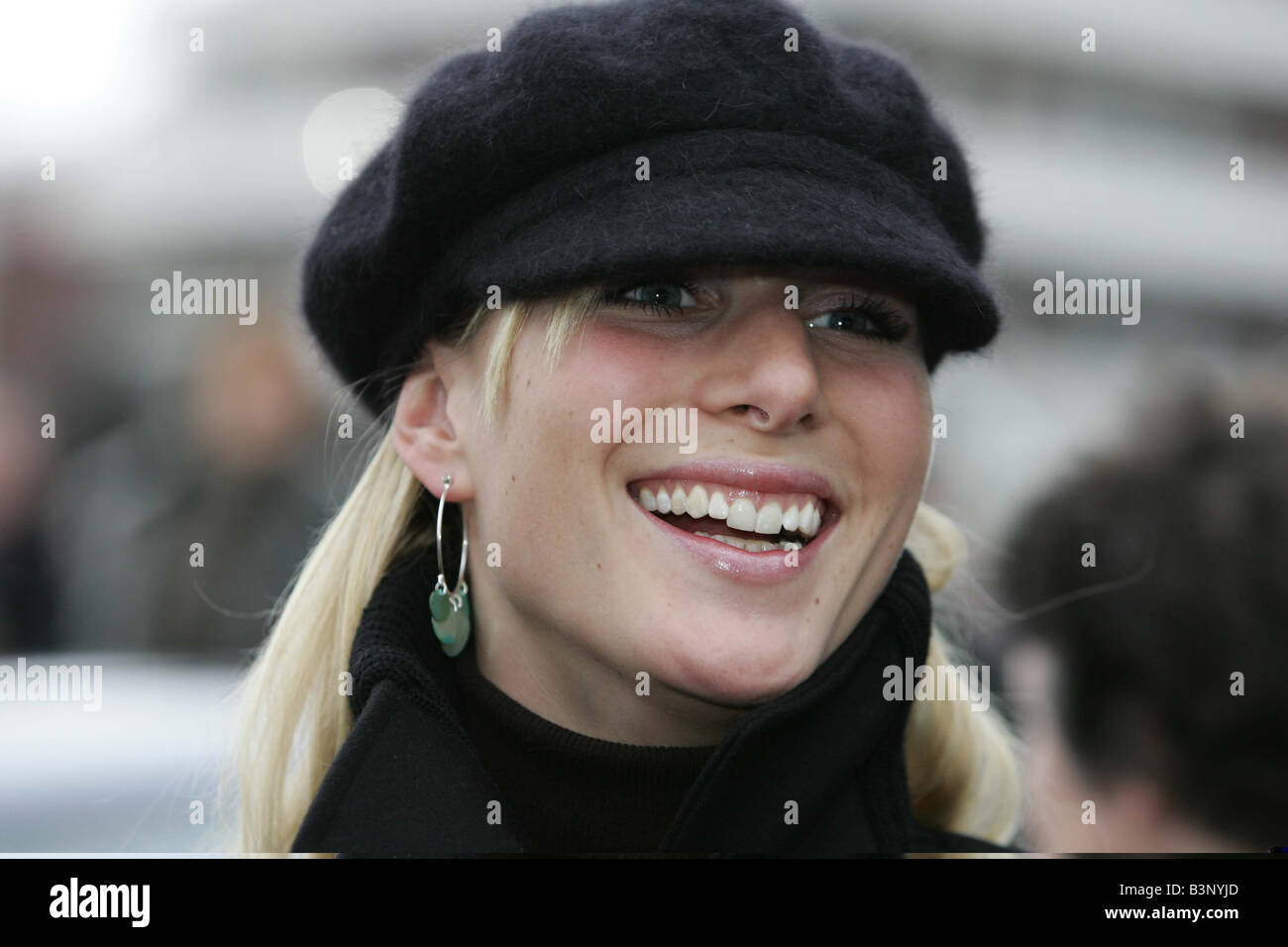 Zara Phillips arrives at the Cheltenham Festival March 2005 She was accompanied by boyfriend Mike Tindall - Stock Image