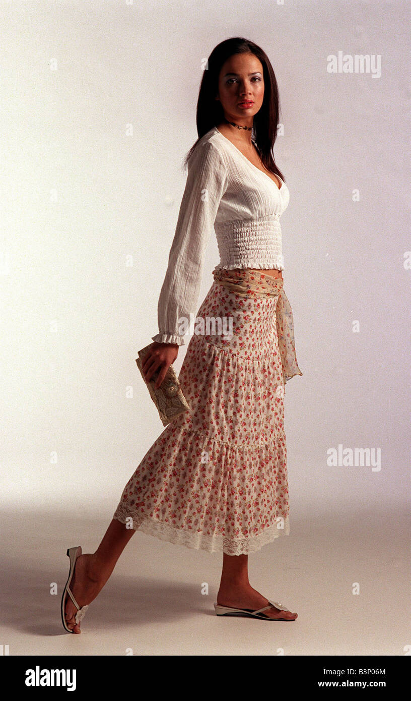 Modle High Resolution Stock Photography And Images Alamy Selection of hand made designer pieces from belgrade. https www alamy com stock photo floral fashion march 2002 a modle wearing a white top and floral print 19537468 html