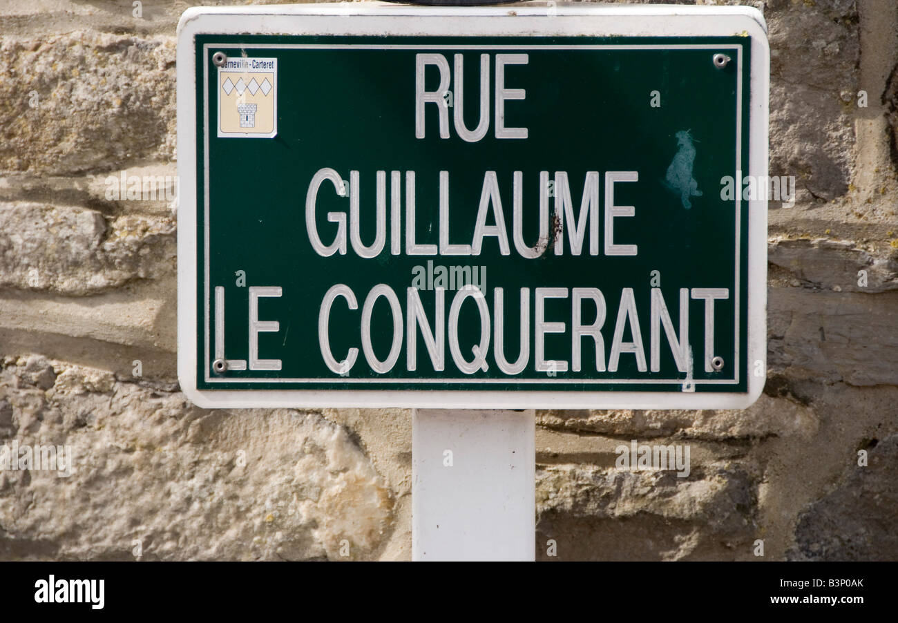 Barneville, Normandy, France. Sign marking 'William the Conqueror Street' - Stock Image