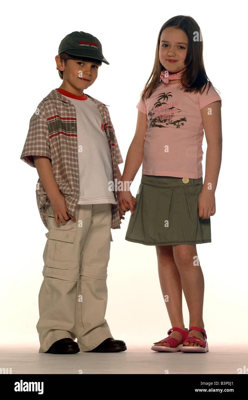 Children S Fashion 9 Year Old Children Small Boy Wearing Open Shirt Stock Photo Alamy