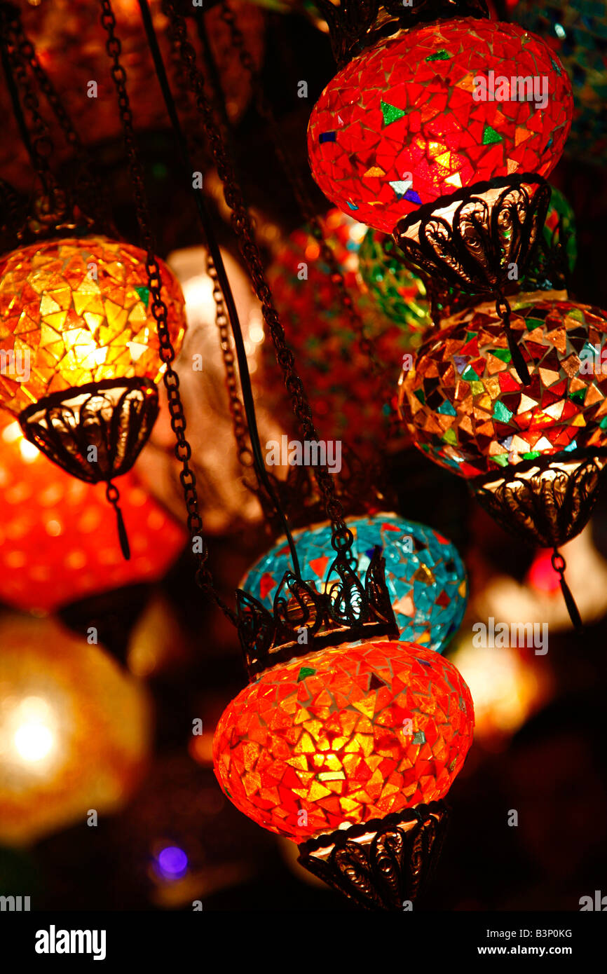 May 2008 - Brightly decorated lanterns in the grand bazaar Istanbul Turkey - Stock Image