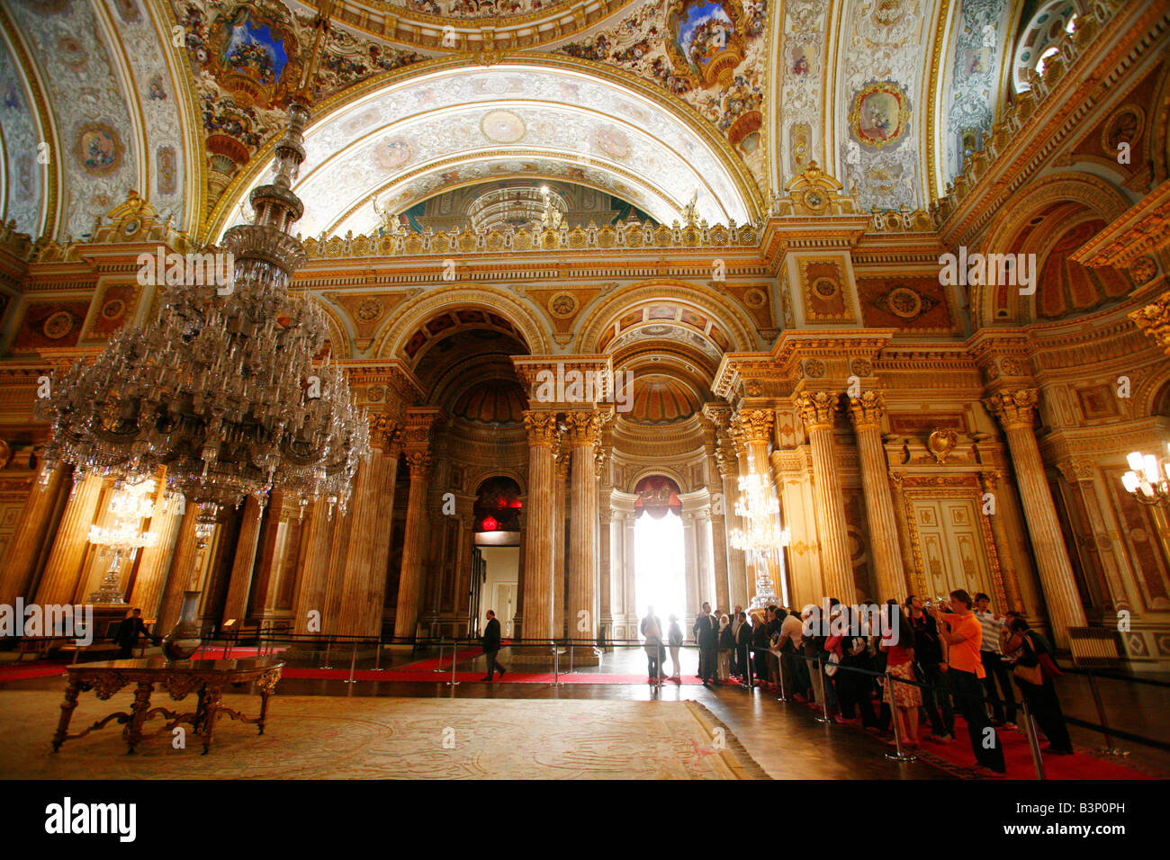May 2008 - Dolmabahce Palace the Ceremonial Hall Istanbul Turkey - Stock Image