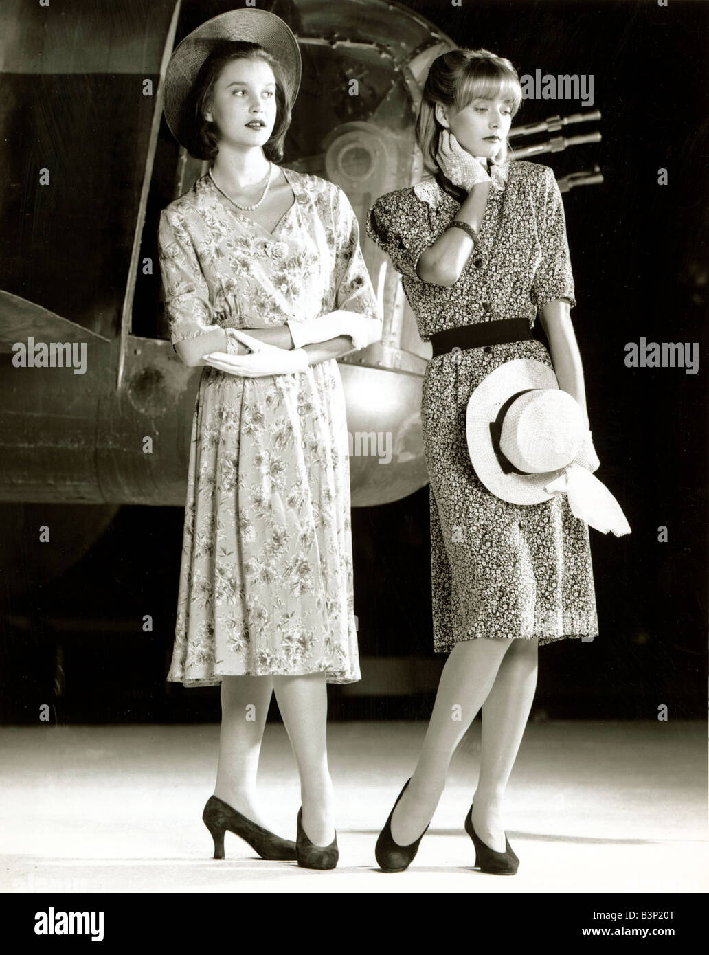 Fashion 1940s Two Female Models Flirty 40s Style Evening