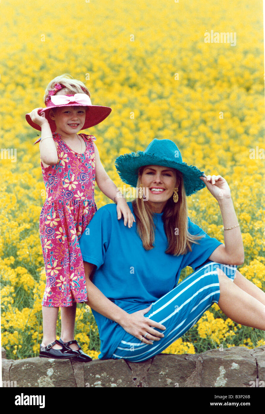 78771d297d6 ... wife Lorraine Brewster and daughter Siobhan aged 4 Mother wearing all  blue hat t shirt and white striped shorts child wearing flowery summer dress  and ...