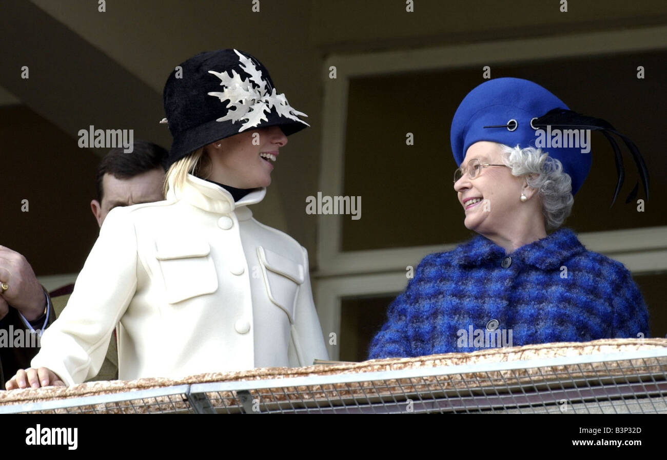 Cheltenham Festival March 2003 Zara Phillips and The Queen on Balcony at Cheltenham as they watch the Gold Cup Zara - Stock Image