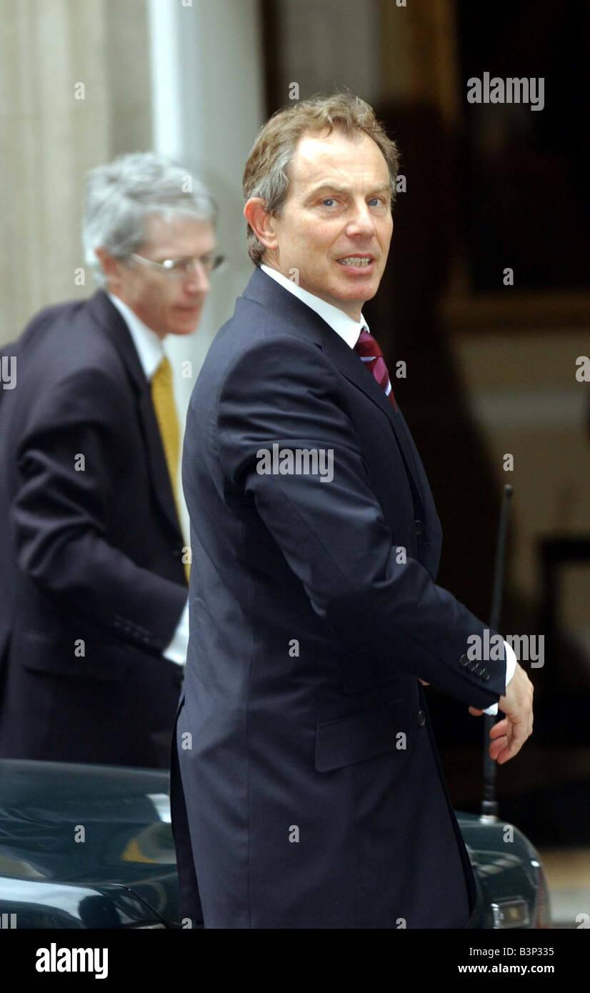 Tony Blair at No 10 April 2003 - Stock Image
