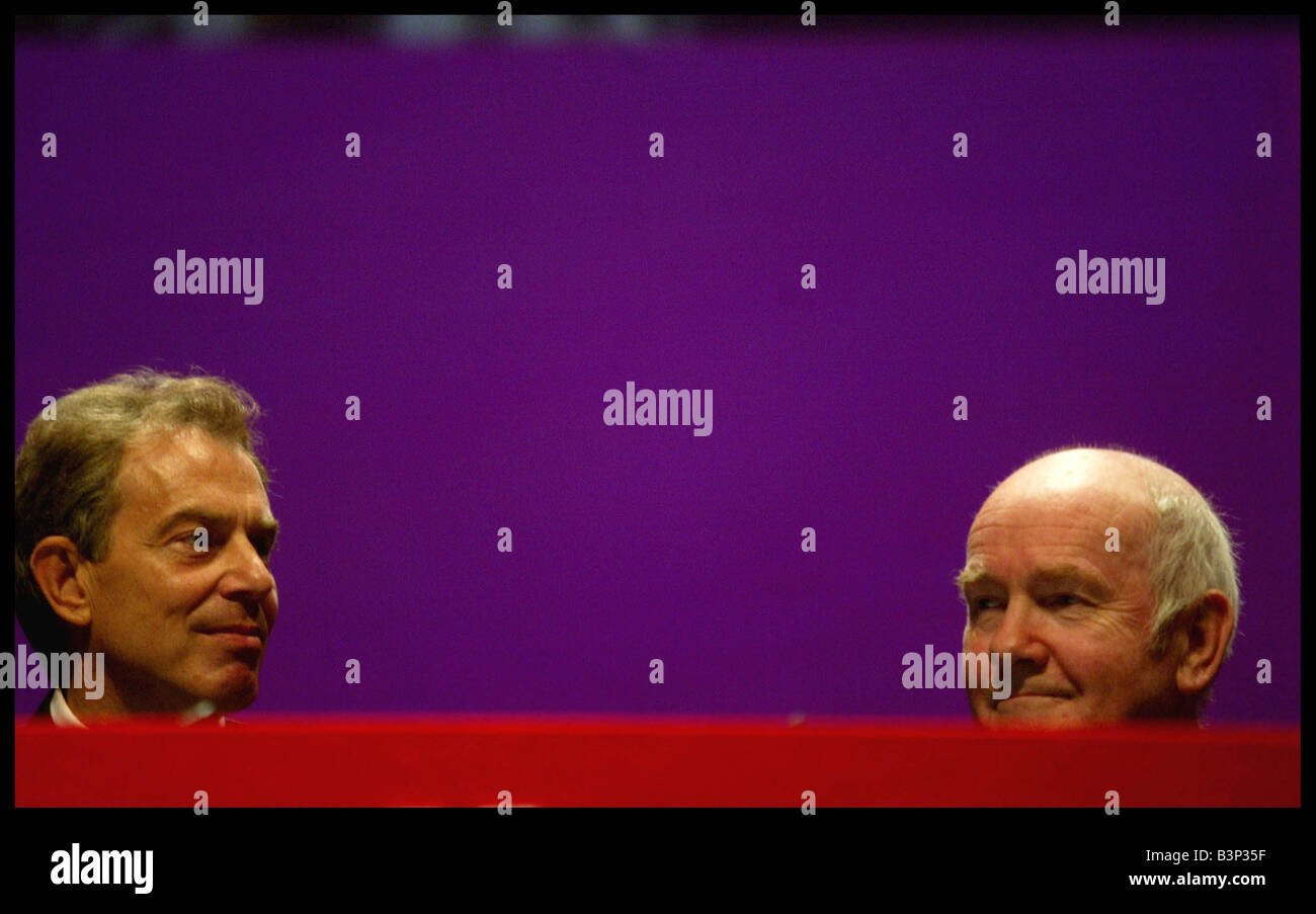 Labour s Health Secretary John Reid and Tony Blair at the Labour Party Conference in Bournemouth October 2003 - Stock Image