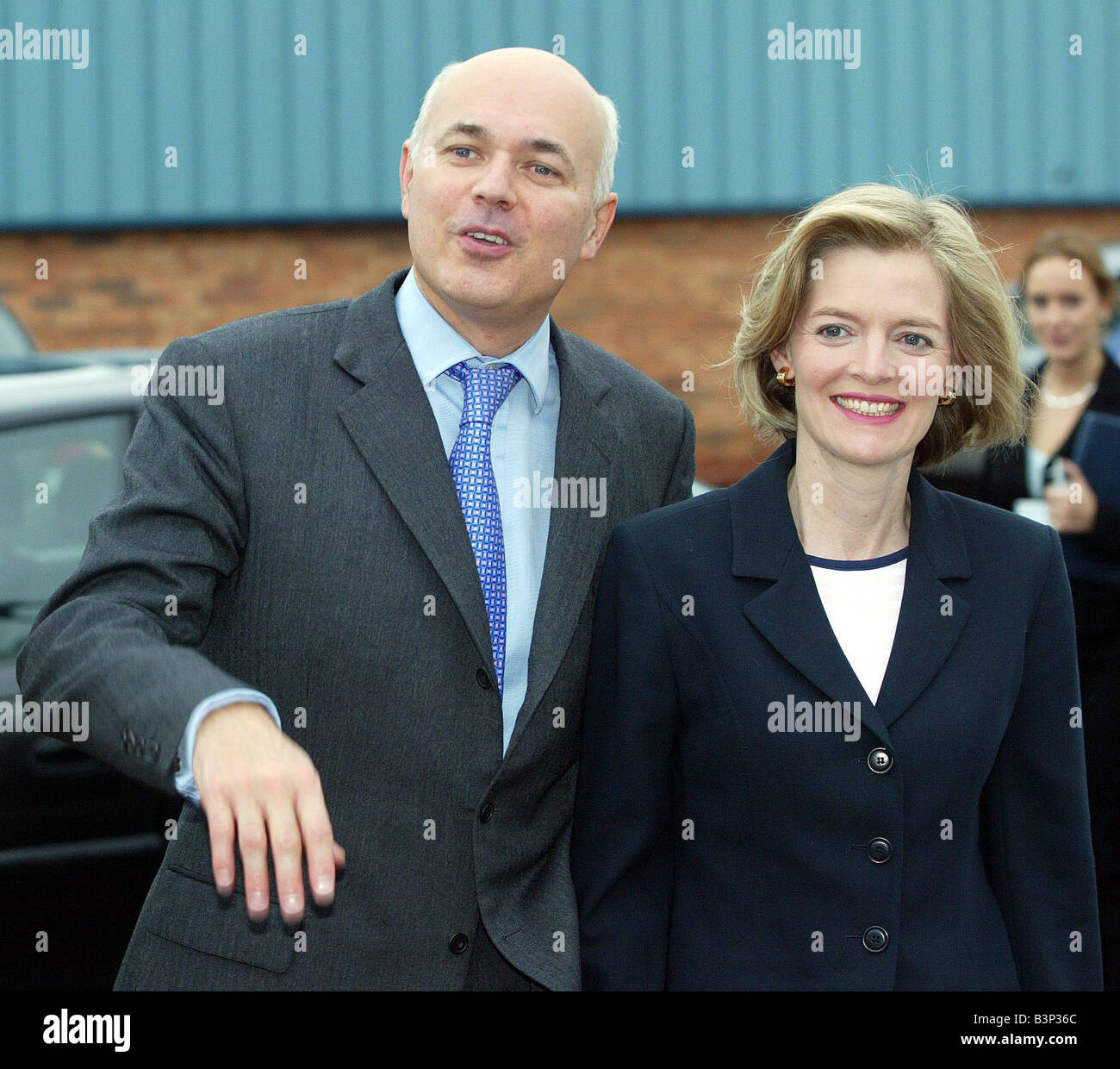 Tory Leader Iain Duncan Smith with wife Betsy meets factory worker at Supreme Plastics in Blackpool October 2003 - Stock Image