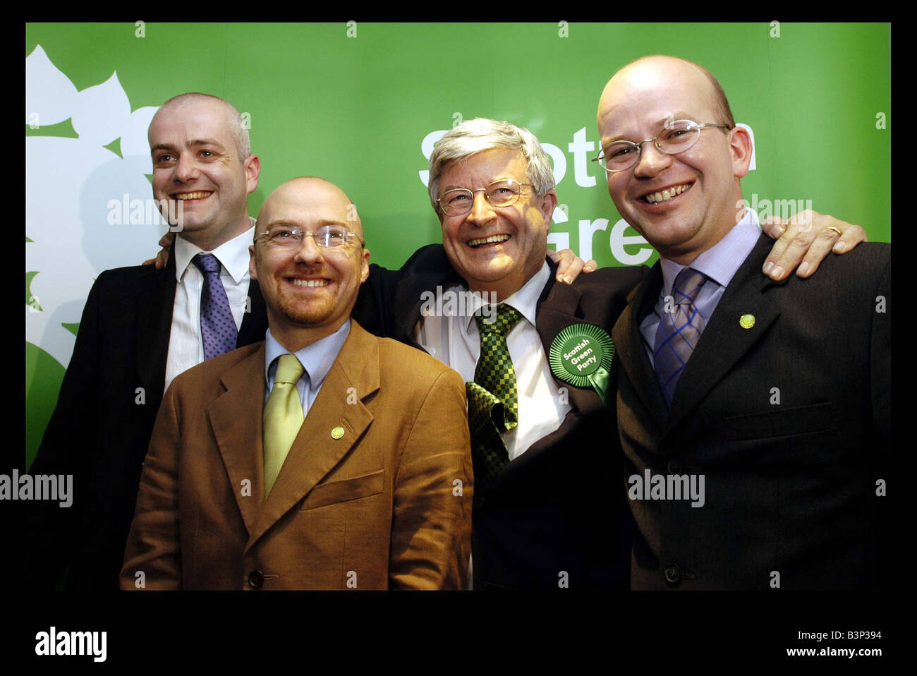 Scottish Green Party Members May 2003 Edinburgh L R Patrick Harvey Mark Ruskell Robin Harper And Mark Ballard - Stock Image