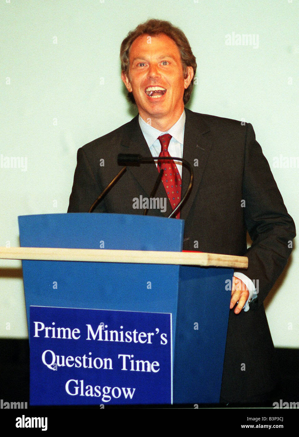 Tony Blair Prime Minister August 1998 at lectern Prime Minsters Question Time Glasgow - Stock Image