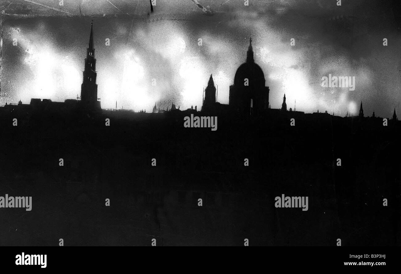 London Skyline During World War Two December 1940 With Saint Pauls