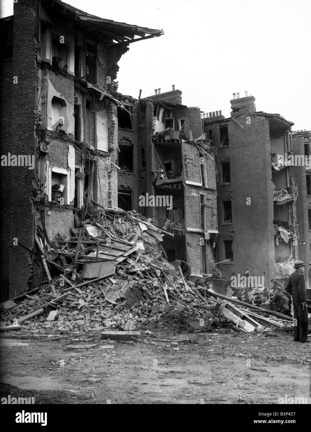 WW2 Air Raid Damage Maida Vale Bomb damage at Maida Vale Buildings collapse in a pile of rubble after the air raid - Stock Image