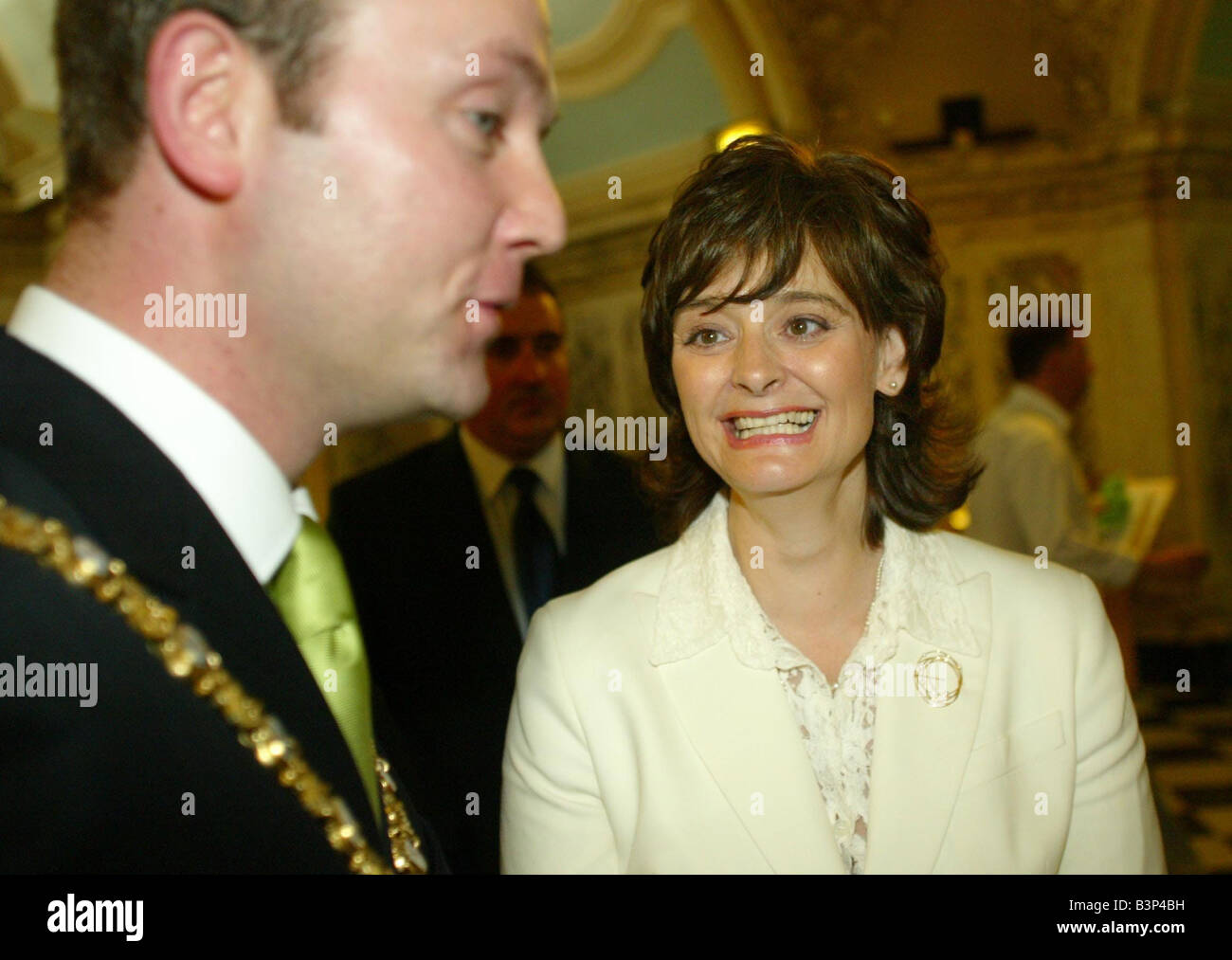 Cherie Blair visit to Belfast City Hall June 2003 greeted to by the Lord Mayor Martin Morgan - Stock Image