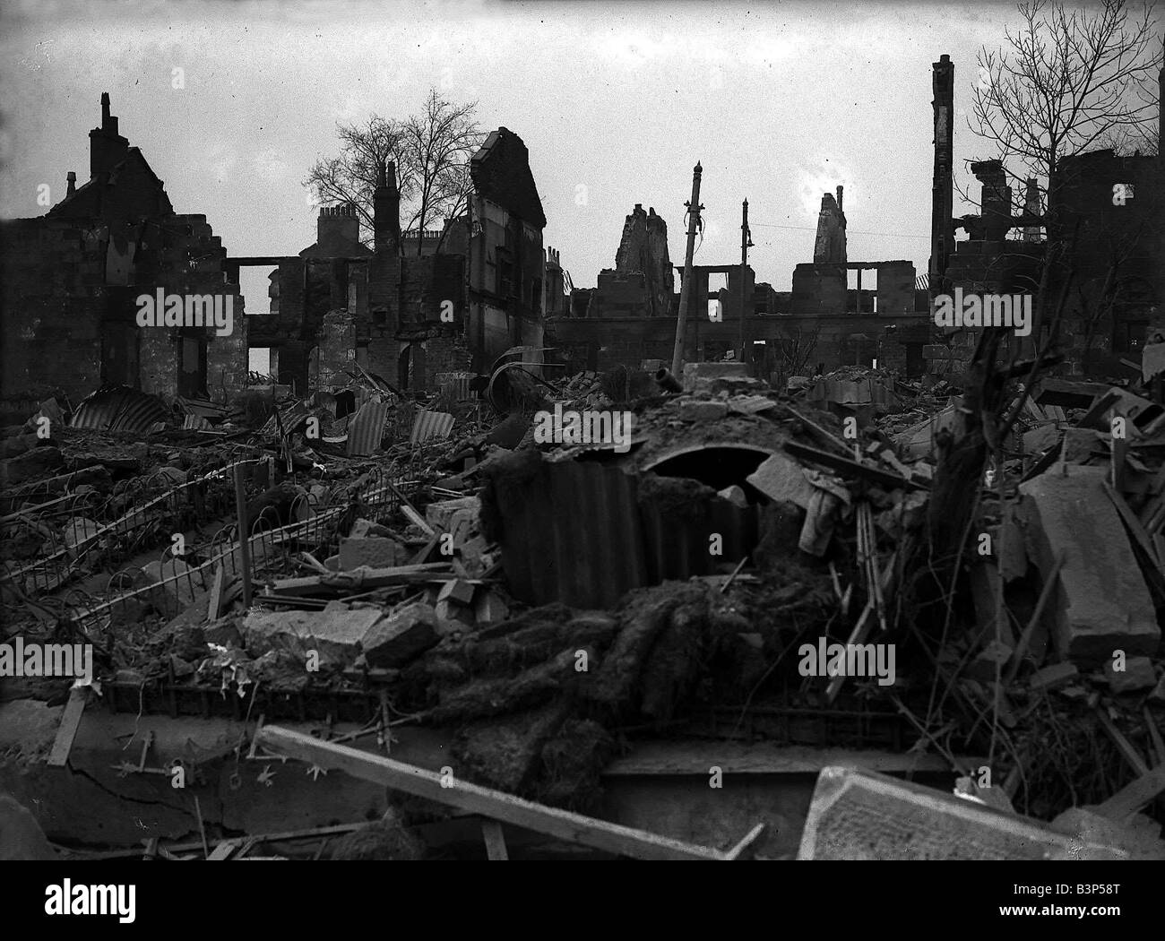 Bomb Damage Glasgow Clydeside during WW2 - Stock Image