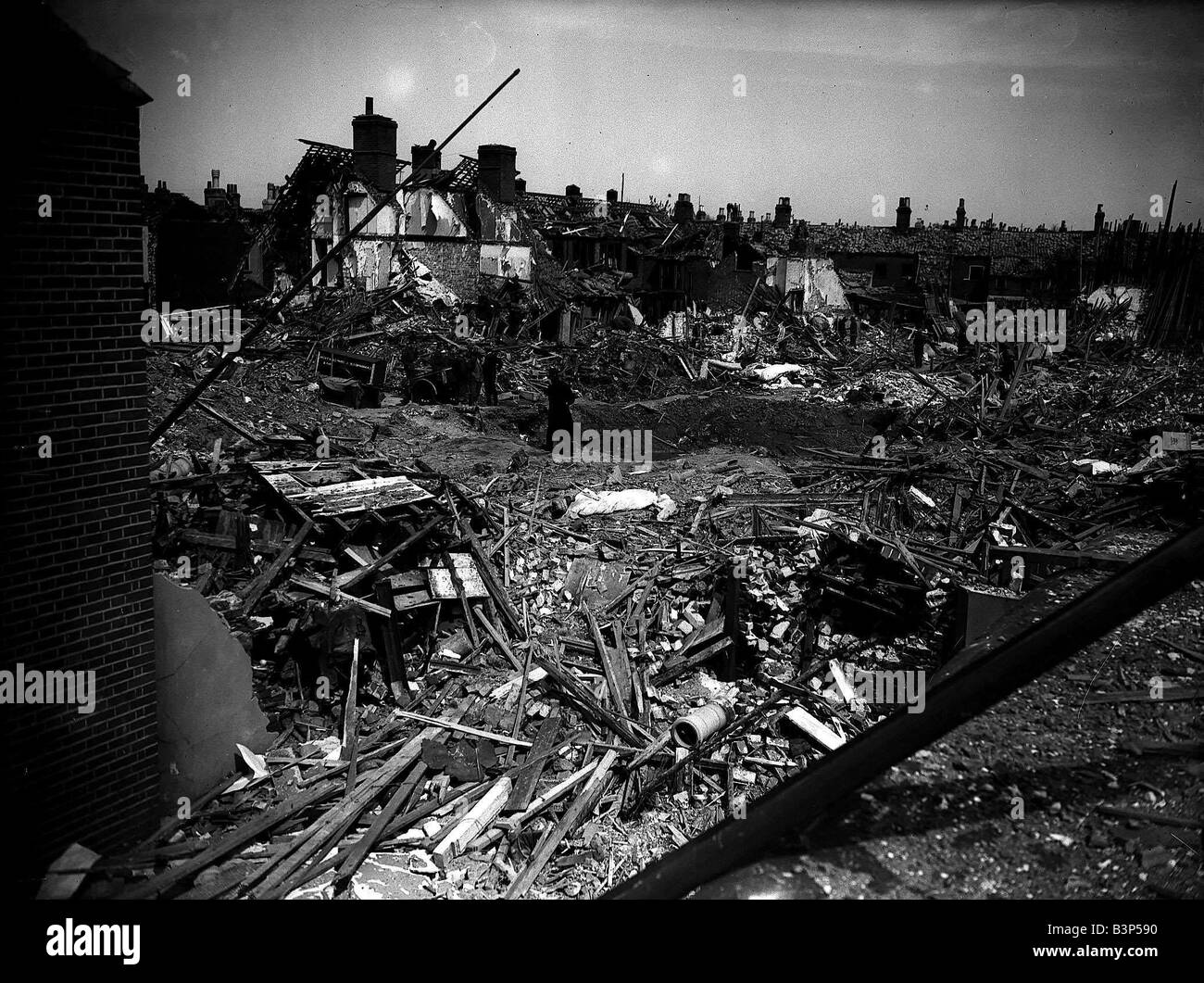 Bomb damaged Norwich during WW2 - Stock Image