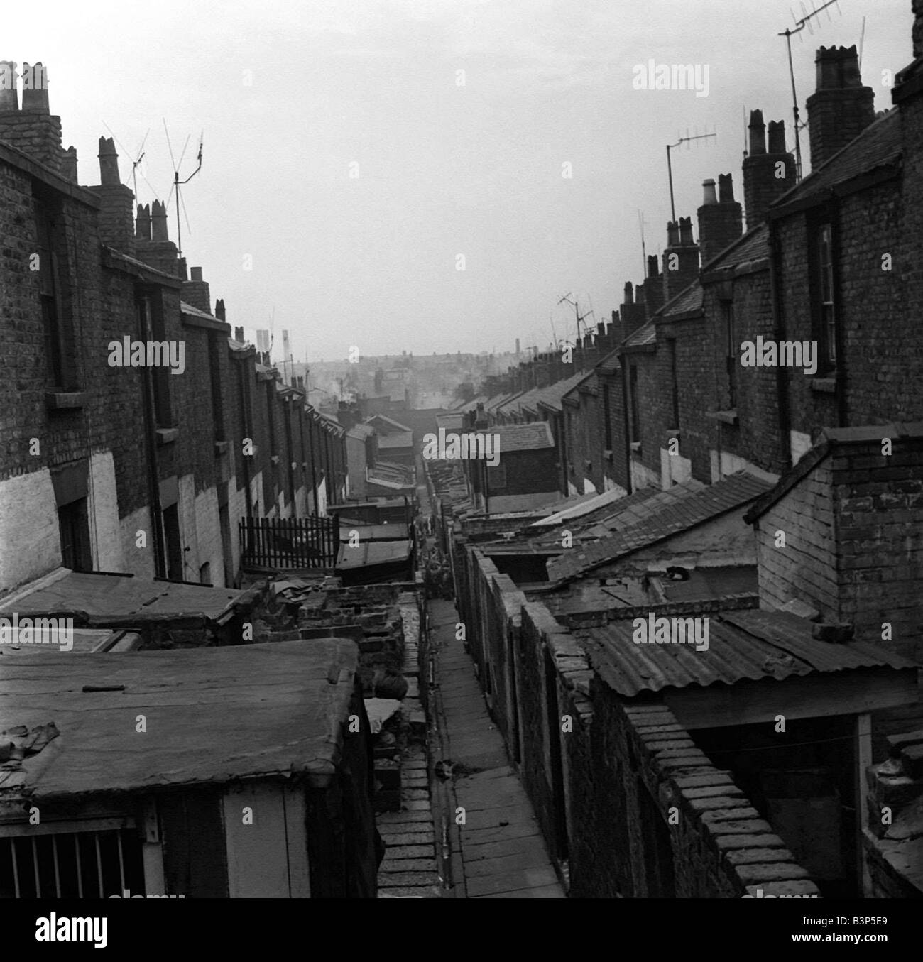 Taken from a set of pictures showing slum housing in post war Britain These pictures were taken to highlight the - Stock Image