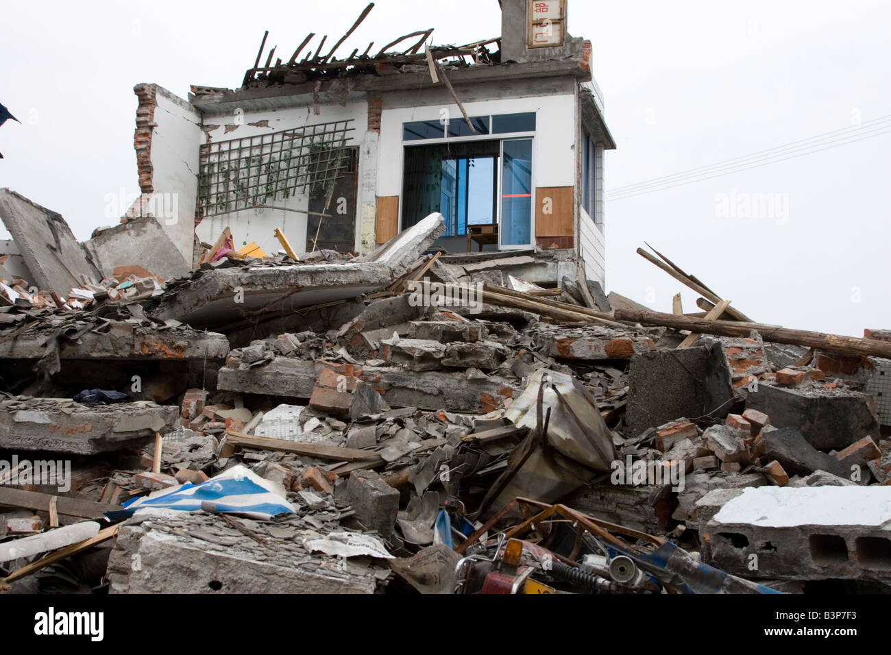 Buildings in a town in Mianzhu perfecture gutted by the massive earthquake that hit Sichuan on May 12 2008 - Stock Image