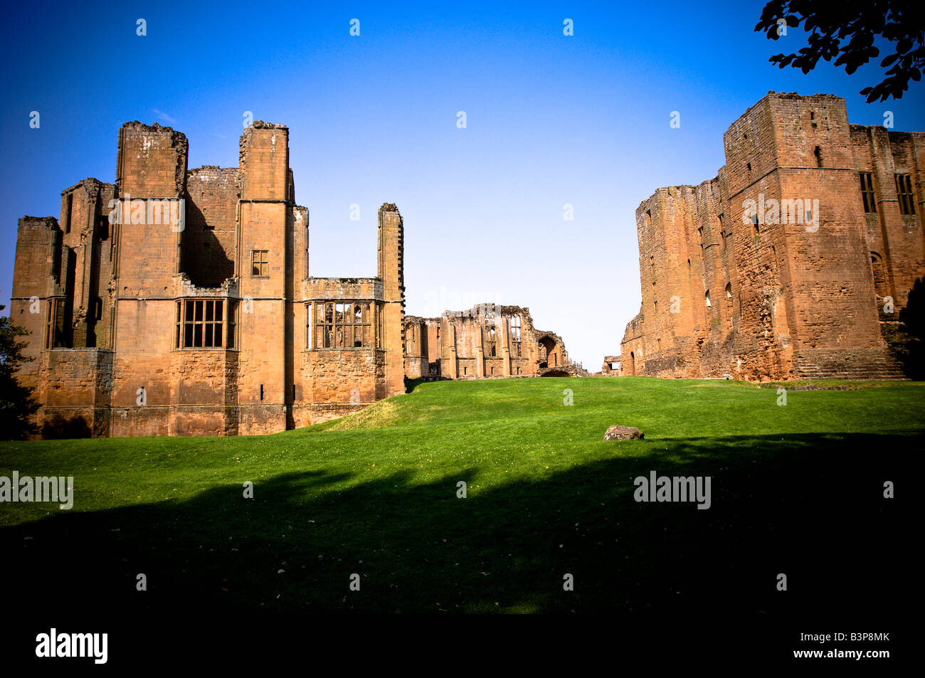 Kenilworth Castle on a summer's day. Photo shows Leicester's Building (left) and The Keep (right) - Stock Image