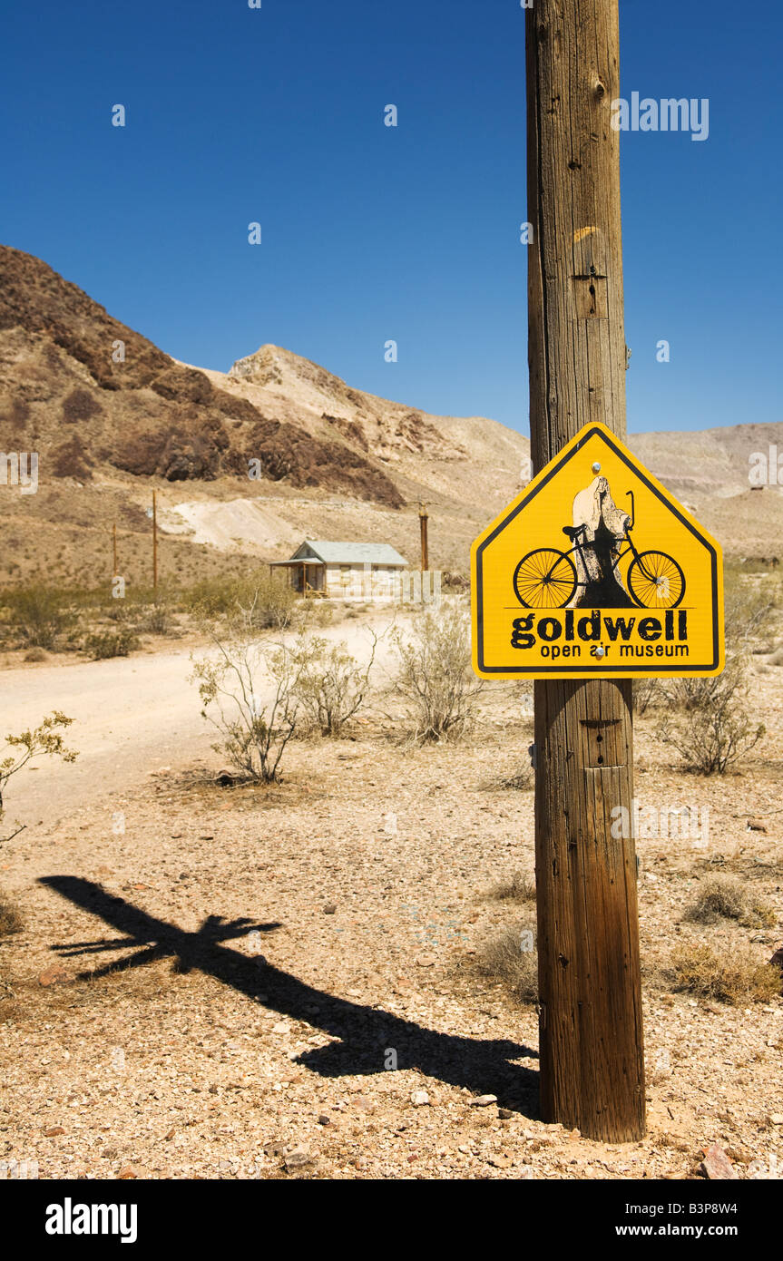 Sign for Goldwell Open Air Gallery in Rhyolite, Nevada, USA. - Stock Image