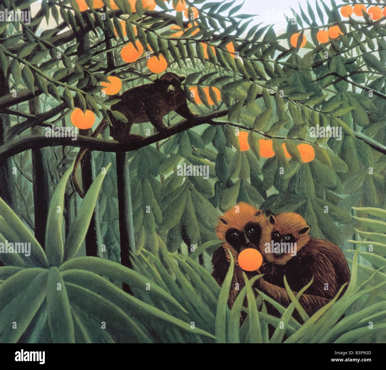 The Monkeys in the Jungle by Henri Rousseau 1910 - Stock Image