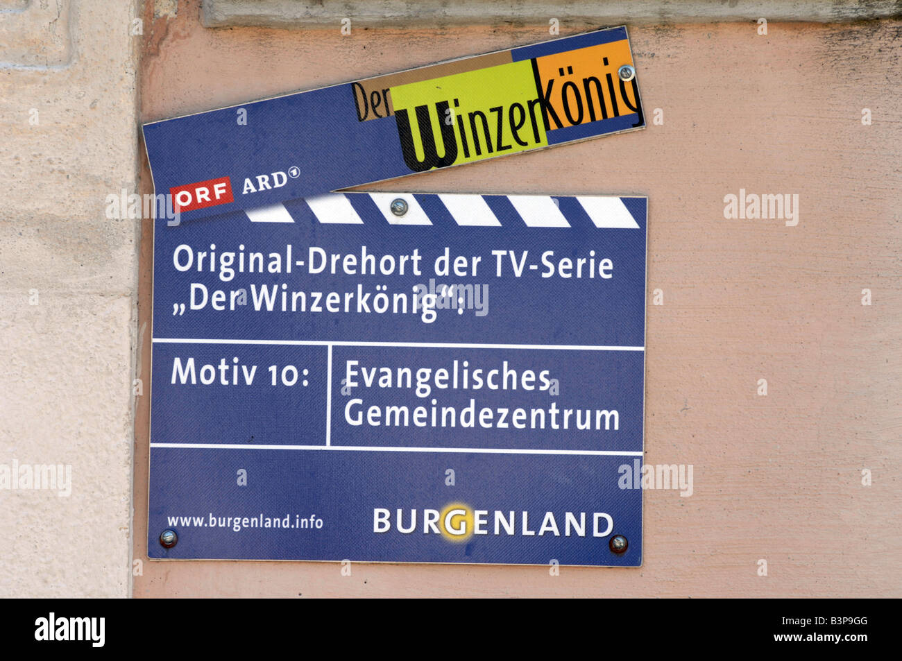 Film location marker for the 'Wine King' popular German TV series filmed in the village of Rust Neusiedlersee, - Stock Image