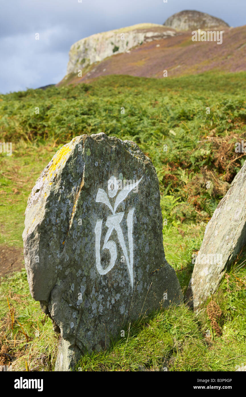 The first symbol of the Buddhist mantra, Om Mani Padme Hum, Holy Island, Isle of Arran, North Ayrshire, Scotland, - Stock Image