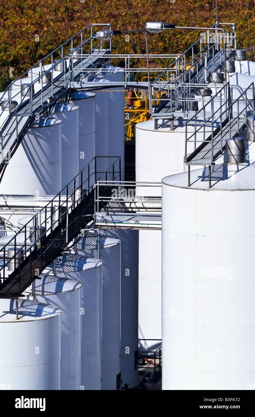 Wine storage tanks - Stock Image
