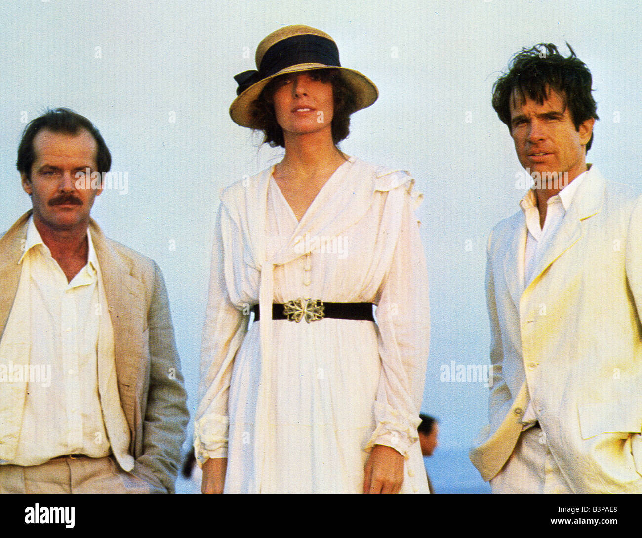 REDS  1981 Paramount film with from left Jack Nicholson, Diane Keaton and Warren Beatty - Stock Image