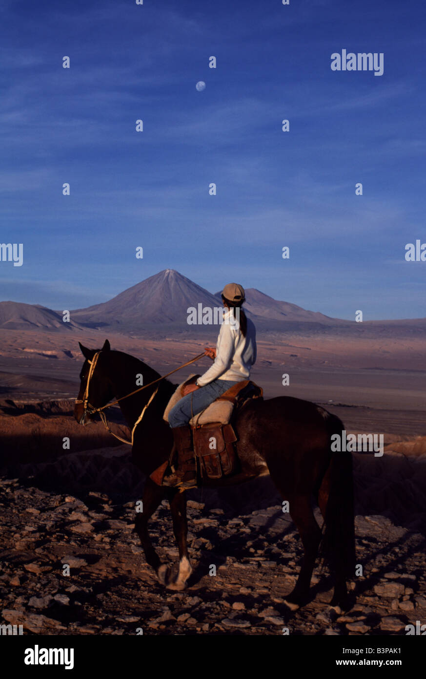 Chile, Atacama Desert. Looking out across the Salt Mountains towards Volcan Licancabur during a horse trek along - Stock Image
