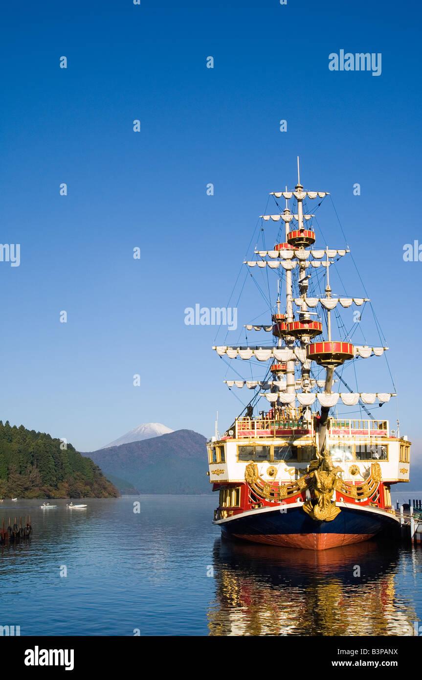 Japan, Kanagawa prefecture, Hakone. Pirate ship on Ashinoko Lake. - Stock Image