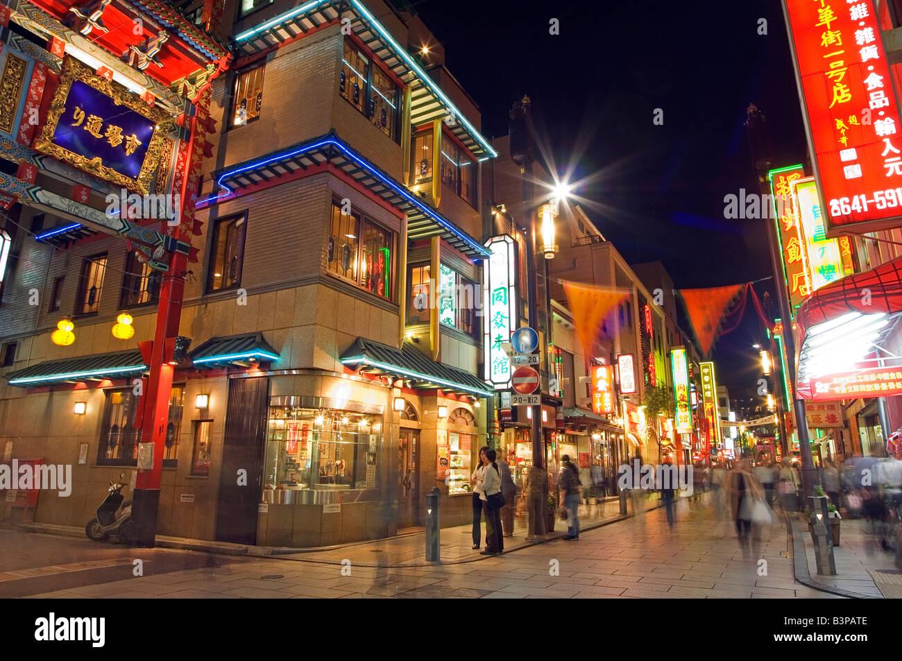 Japan, Kanagawa prefecture, China town. Yokohama, China town at night - Stock Image
