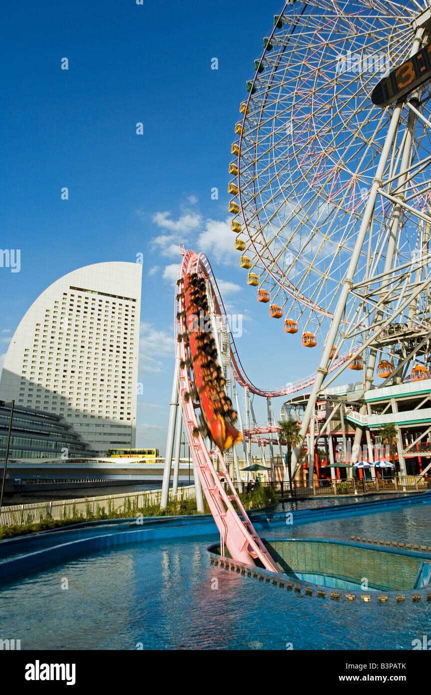 Japan, Kanagawa prefecture, Yokohama. Minato Mirai amusement park rollercoaster - Stock Image