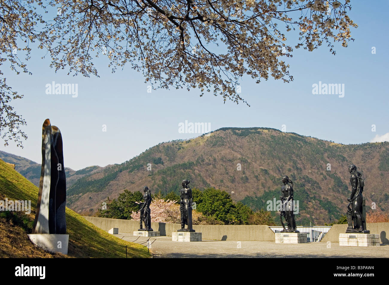 Japan, Kanagawa Prefecture, Hakone. Modern sculptures and art displays at Hakone Open Air Museum - Stock Image
