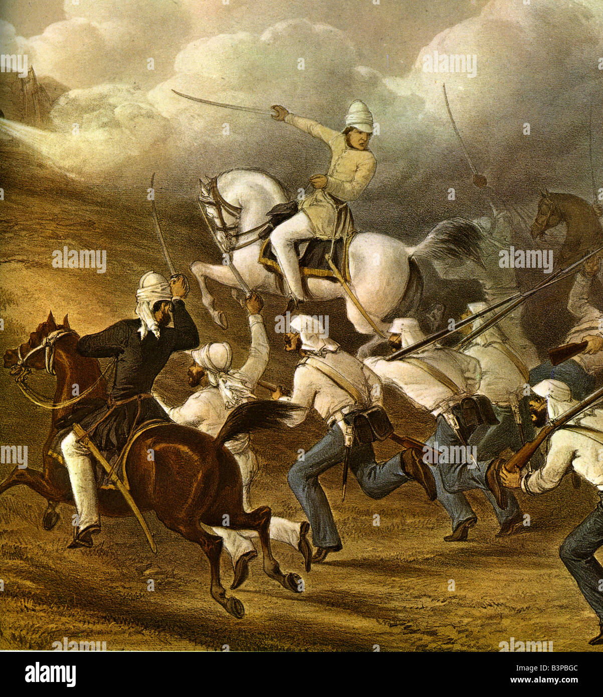 INDIAN MUTINY British cavalry and infantry storm the batteries at Badle Serai, Delhi in 1857 - Stock Image
