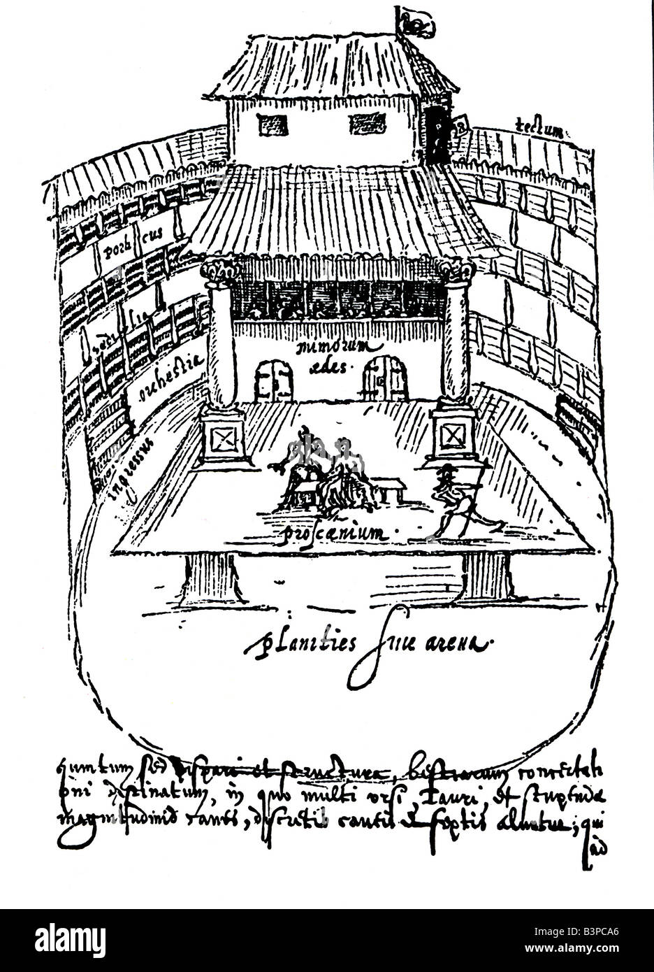 SWAN THEATRE in Southwark, London, drawn by Johannes De Witt about 1596 - the only contemporary drawing of an Elizabethan - Stock Image