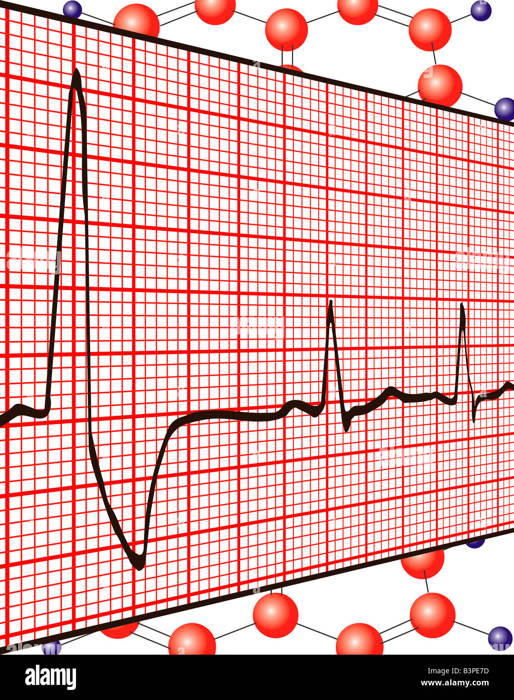 electrocardiogram ekg graph printout on dna background stock photo