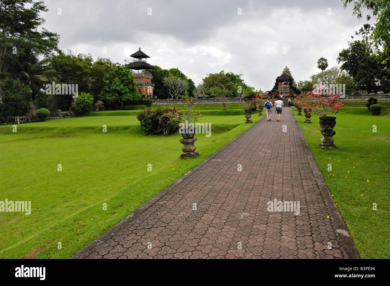 Pura Taman Ayun Temple and Kulkul Tower in Mengwi, Bali, Indonesia - Stock Image