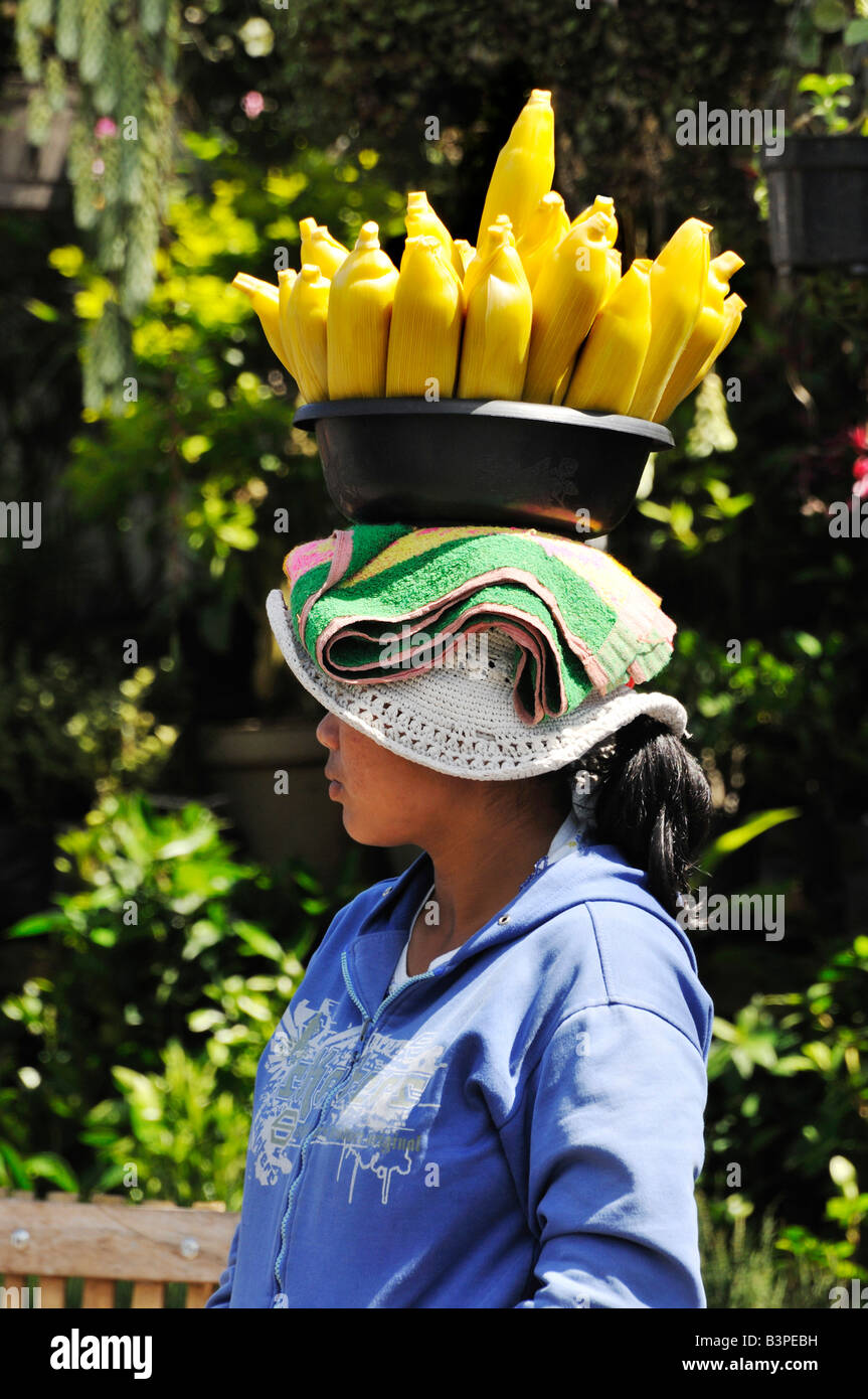 Girl carrying cooked ears of corn on her head near Lake Bratan, Bali, Indonesia - Stock Image