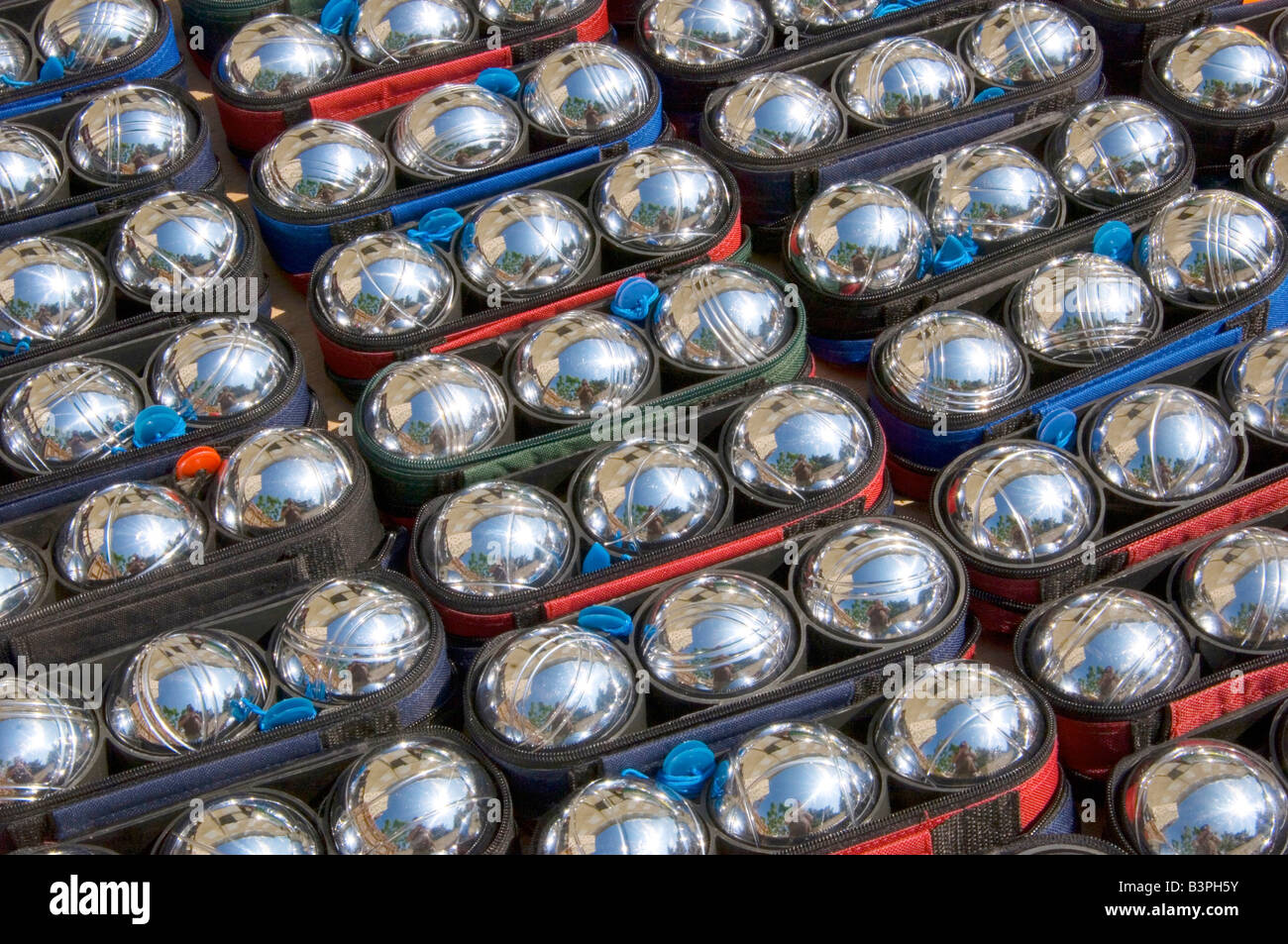 Boules balls at a market in Provence, France, Europe - Stock Image