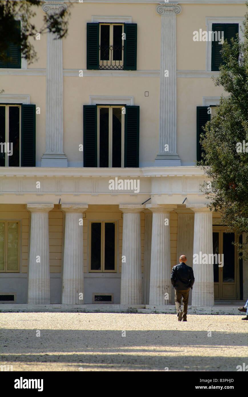 Lateral side, Casin� Nobile, Villa Torlonia, Rome, Lazio, Italy - Stock Image