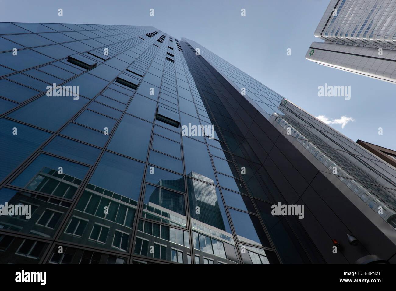 Facade of the Gallileo towerblock and Silver Tower, Dresdner Bank, Frankfurt/Main, Germany, Europe Stock Photo